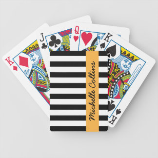 Black and white stripes orange personalized name bicycle playing cards