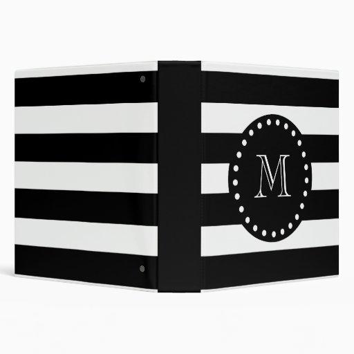 Black and White Stripes Pattern, Black Monogram Binders