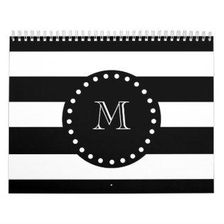 Black and White Stripes Pattern, Black Monogram Calendars