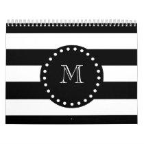 Black and White Stripes Pattern, Black Monogram Calendar