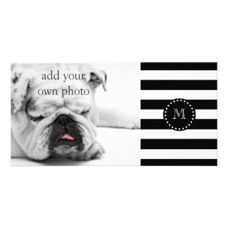 Black and White Stripes Pattern, Black Monogram Card