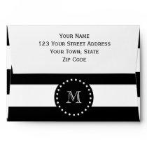 Black and White Stripes Pattern, Black Monogram Envelope