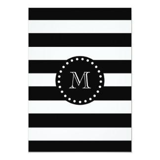 Black and White Stripes Pattern, Black Monogram 5x7 Paper Invitation Card