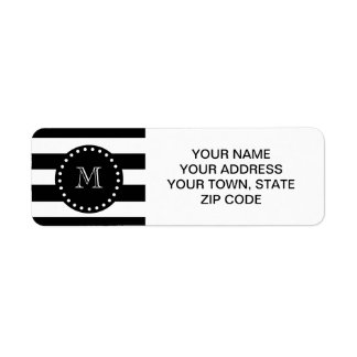 Black and White Stripes Pattern, Black Monogram Label