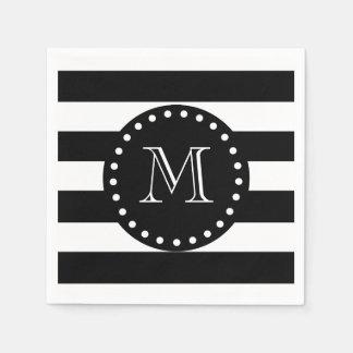 Black and White Stripes Pattern, Black Monogram Napkin