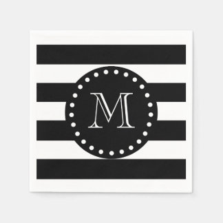 Black and White Stripes Pattern, Black Monogram Disposable Napkin