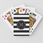 "Black and White Stripes Pattern, Black Monogram Playing Cards<br><div class=""desc"">A simple, modern, black and white stripes pattern with your initial in a modern font, on a black circle label, banner, frame with a dotted white line border. GraphicsByMimi&#169; Trendy colors, mod, bold stripes or lines pattern you can personalize with your monogram for her. Use the template field to add...</div>"