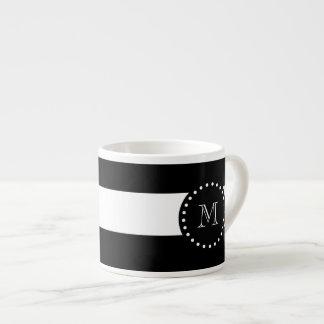 Black and White Stripes Pattern, Black Monogram Espresso Cups