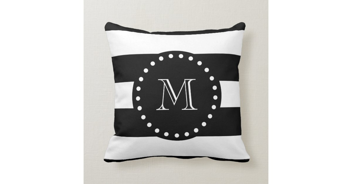 Black And White Patterned Throw Pillows : Black and White Stripes Pattern, Black Monogram Throw Pillow Zazzle