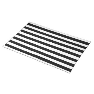 Black and White Stripes Pattern Cloth Placemat