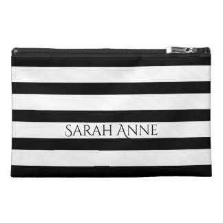 Black and White Stripes Personalized Travel Accessory Bag
