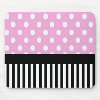 Black and White Stripes/Pink and White Dots Mouse Pad