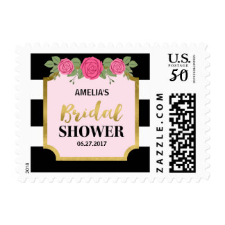 Black and White Stripes Pink Roses Bridal Shower Postage