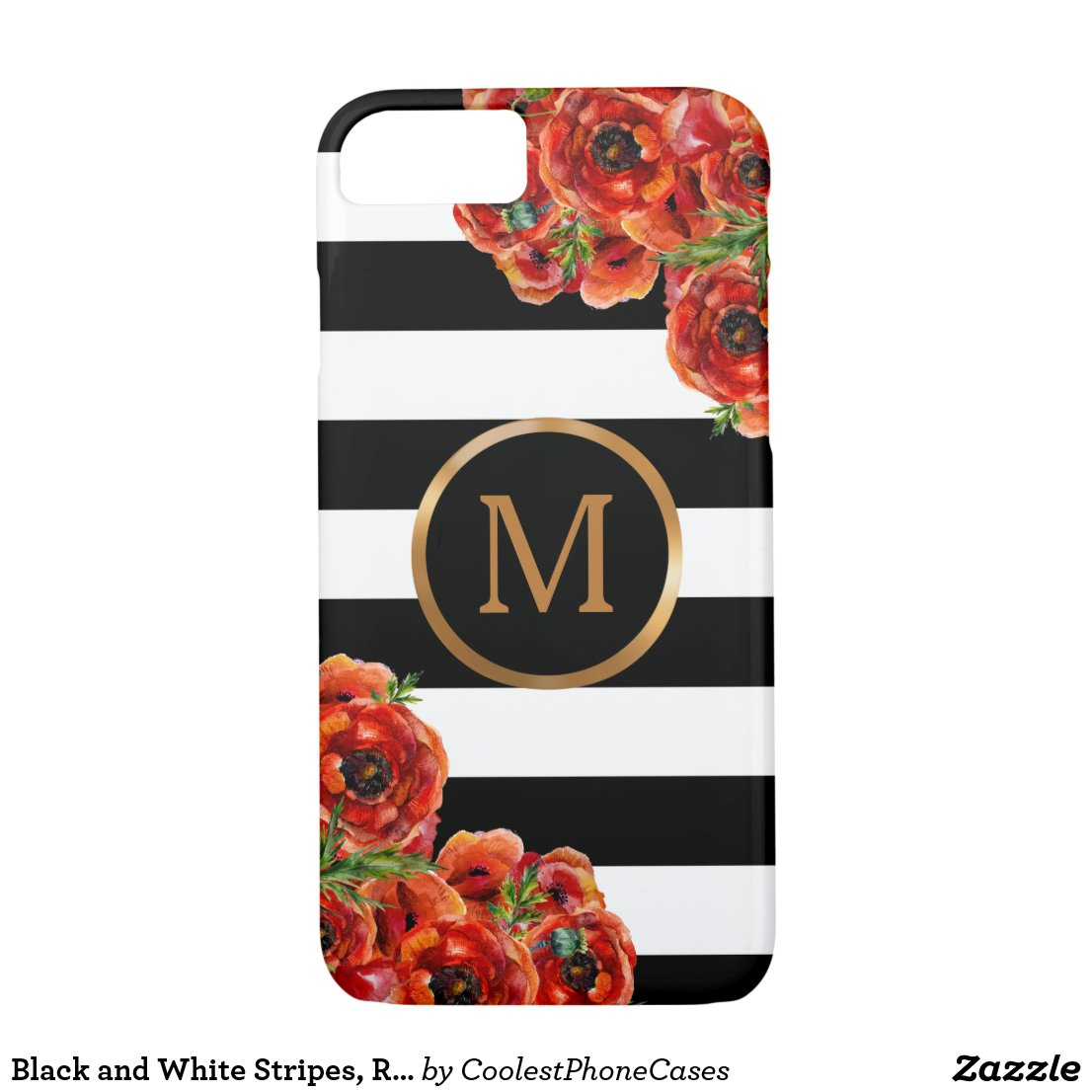 Black and White Stripes, Red Floral Gold Monogram iPhone 7 Case