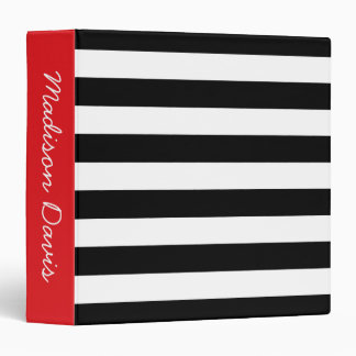 Black and White Stripes Red Personalized 3 Ring Binder