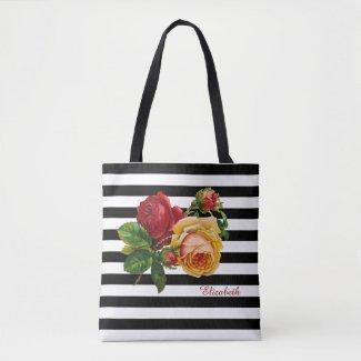 Black and White Stripes Roses Custom Fashion