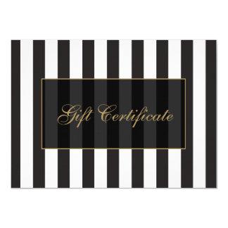 Black and White Stripes Salon Gift Certificate 4.5x6.25 Paper Invitation Card
