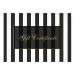 Black and White Stripes Salon Gift Certificate Invitation