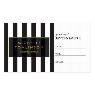 Black and White Stripes Salon III Appointment Card Business Card