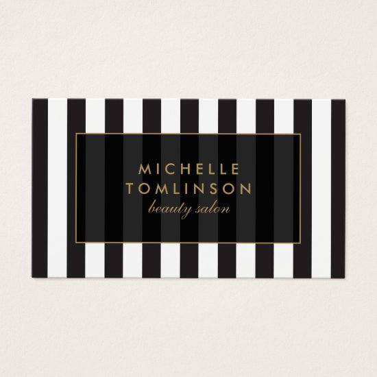 Black and White Stripes Salon III Business Card