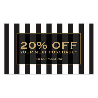Black and White Stripes Salon III Coupon Card Business Card