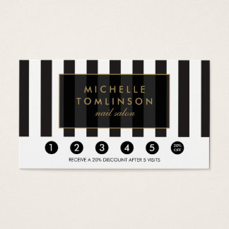 Black and White Stripes Salon Loyalty Card
