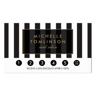 Black and White Stripes Salon Loyalty Card Double-Sided Standard Business Cards (Pack Of 100)