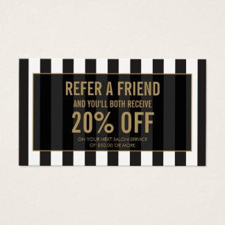 Black and White Stripes Salon Referral Card