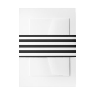 Black And White Stripes Stylish Invitation Belly Band