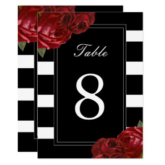 Black and White Stripes Table Numbers Card