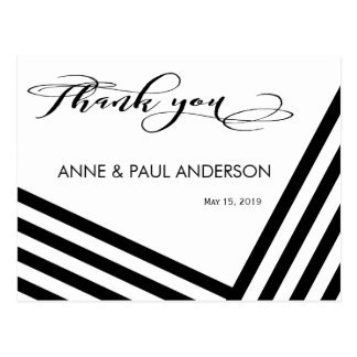 Black and white stripes Thank You Card
