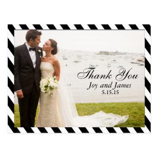 Black and White Stripes Thank You Wedding Postcard