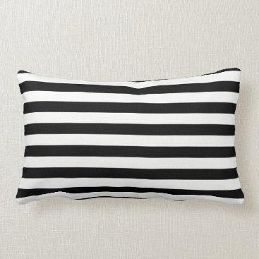 Beach Themed Black and White Stripes Throw Pillow