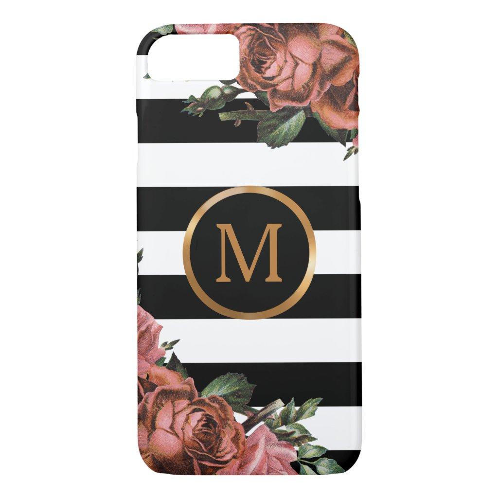 Black and White Stripes, Vintage Floral Monogram iPhone 7 Case