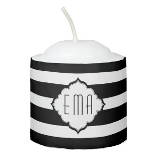 Black And White Stripes Votive Candle