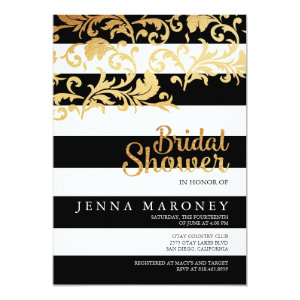 Black and White Stripes w/ Gold Foil Bridal Shower 5x7 Paper Invitation Card