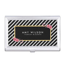 Black and White Stripes, Watercolor Floral Business Card Case
