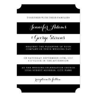 Black and White Stripes Wedding Invitations