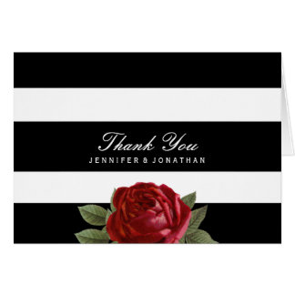 Black and White Stripes Wedding Thank You Cards