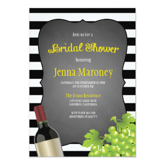 Black and White Stripes Wine Grapes Bridal Shower 5x7 Paper Invitation Card