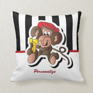 Black and White Stripes with a Monkey Pillow