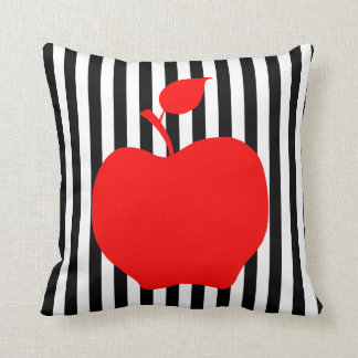 Black and White Stripes with Apple Throw Pillows