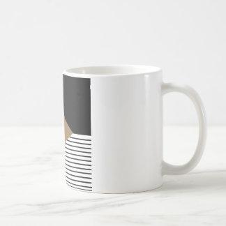 Black and White Stripes with Brown Diamond Star Coffee Mug
