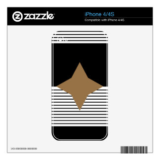 Black and White Stripes with Brown Diamond Star iPhone 4S Decals