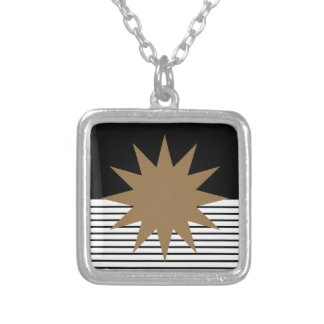Black and White Stripes with Brown Sun Custom Necklace