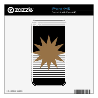 Black and White Stripes with Brown Sun iPhone 4 Decal