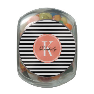 Black and White Stripes with Coral Monogram Glass Candy Jars