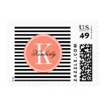 Black and White Stripes with Coral Monogram Postage Stamps