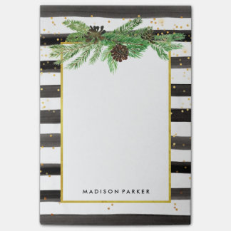 Black and White Stripes with Gold and Pine Cones Post-it® Notes