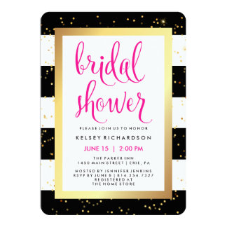 Black and White Stripes with Gold Bridal Shower Card